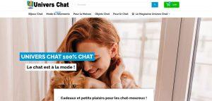 Page d'accueil de la boutique univers-chat